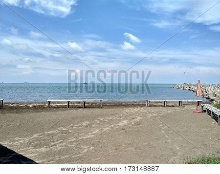 The Beautiful view of beach wich I take in mina ayu beach,indramayu .wet java