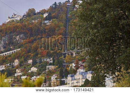 A view of Territet-Glion funicular railway. The Territet - Glion funicular railway was built in 1883 and it is one of Switzerland's oldest cable railway (funicular), which runs between the Territet and Glion suburbs of the town of Montreux.