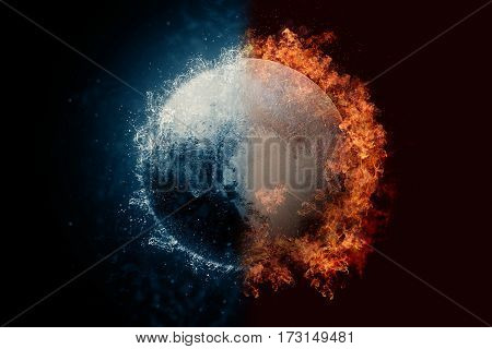 Planet Pluto In Water And Fire. Concept Sci-fi Artwork