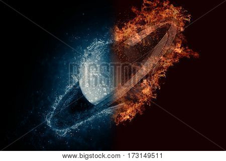 Planet Saturn In Water And Fire. Concept Sci-fi Artwork
