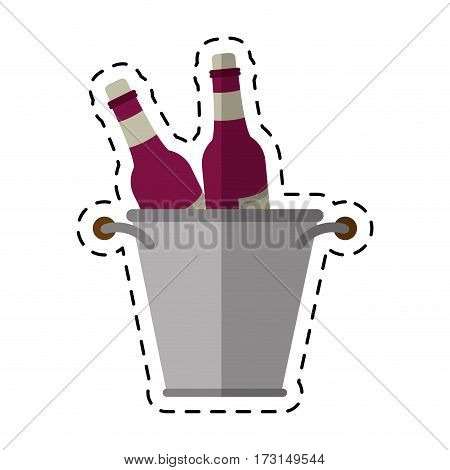 cartoon glass bottles wine bucket vector illustration eps 10