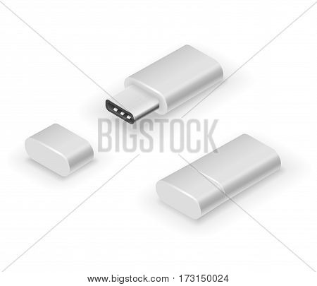 USB 3.0 Type C white colored pen drive flash disk. Vector illustration in 3D looks isometry