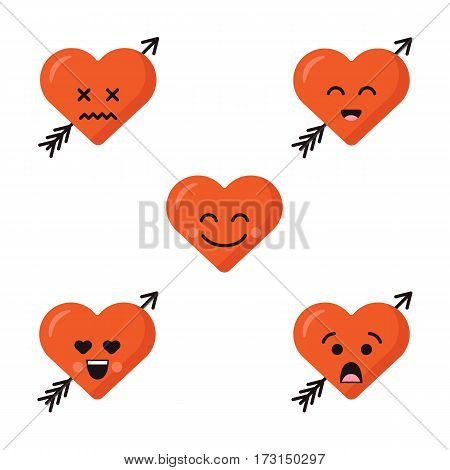Set collection of different happy emoticons emoji red heart faces with arrow isolated on the white background. Happy faces.