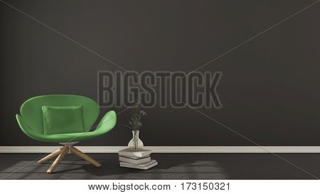 Scandinavian Minimalistic Background, With Green Armchair On Herringbone Natural Parquet Flooring, I