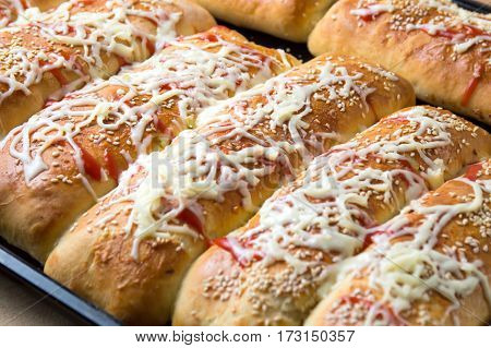 Homemade Calzone Pizza On Baking Pan