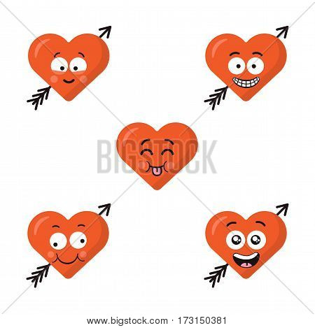 Collection of different cartoon emoticons emoji red heart faces with arrow isolated on the white background. Happy flat modern style faces.