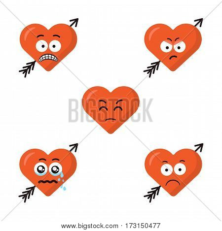 Collection of five different sad cartoon emoticons emoji red heart faces with arrow isolated on the white background. Sad flat modern style smiles.