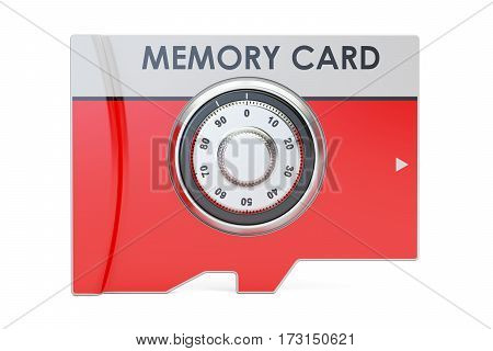memory card with safe combination dial lock 3D rendering isolated on white background