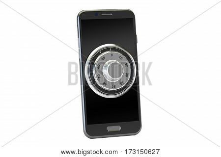 smartphone with combination lock 3D rendering isolated on white background