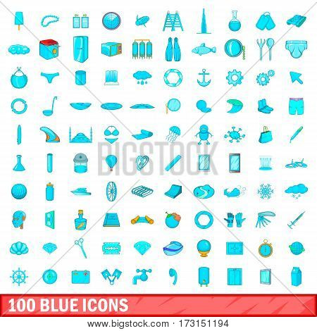 100 blue icons set in cartoon style for any design vector illustration