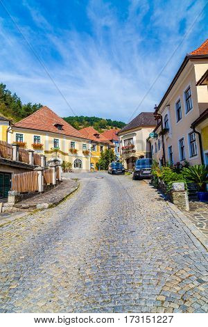LOWER AUSTRIA AUSTRIA - 28TH AUGUST 2015: A view of colourful buildings and streets in Lower Austria.