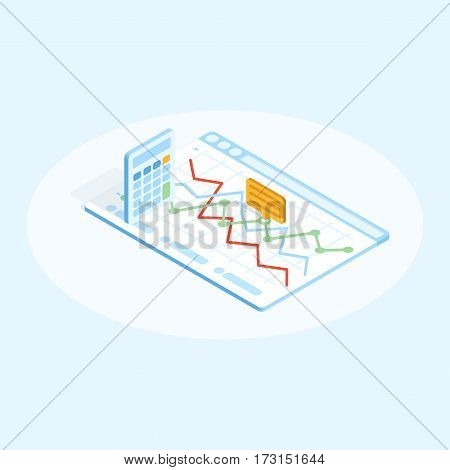 Isometric flat illustration of calculator and chart in browser with comment. Financial design concept