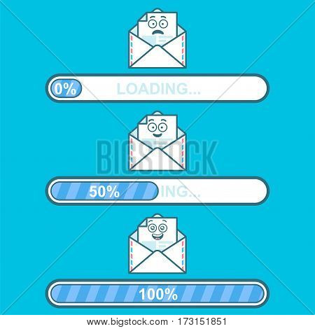 Set of vector illustrations downloader with email cartoon character and text loading. Happy emoji email. Progress bar and loading emoticon. ui preloader web elements. flat design with character emoji