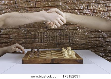 Hands of kids shaking hands before start game of chess