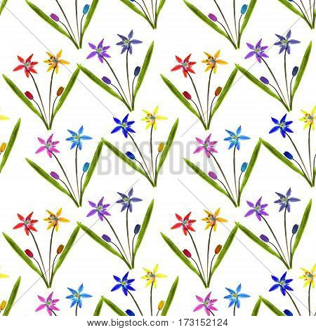 Bluebell scilla primroses. Texture of flowers. Seamless pattern for continuous replicate. Floral background photo collage for production of textile cotton fabric. For use in wallpaper covers.