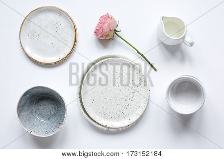 ceramic tableware top view on white background mock up.