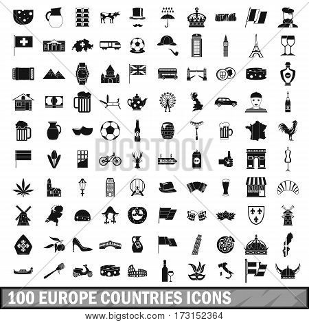 100 europe countries icons set in simple style for any design vector illustration