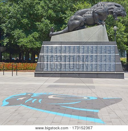 CHARLOTTE NORTH CAROLINA JUNE 21 2016: Sam Mills Leader and Gentleman Linebacker 1995-1997, the first former Panthers player to be inducted into the Carolina Panthers Hall of Honor