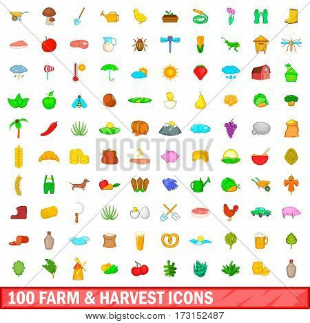 100 farm and harvest icons set in cartoon style for any design vector illustration