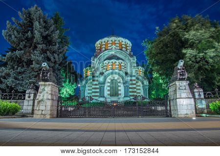 St.George the Conqueror Chapel Mausoleum at night,Pleven Bulgaria