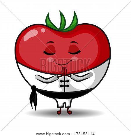 Tomato Character Martial Artist Salutation Hand Drawn Vector Illustration EPS10