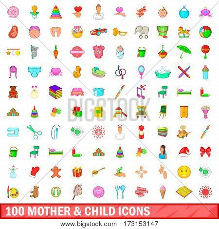 100 mother and child icons set in cartoon style for any design vector illustration