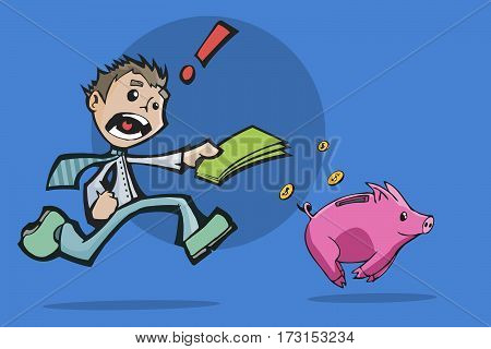 Colorful illustration of a worried man chasing a Piggy Bank for investment.
