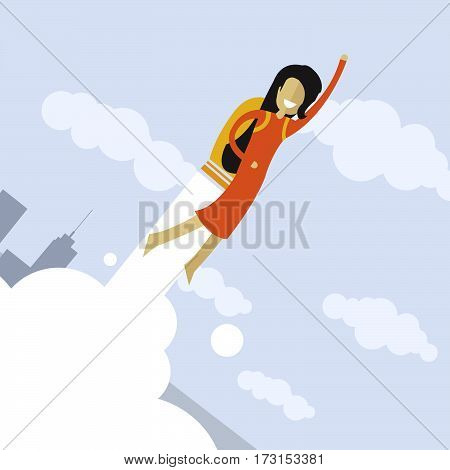 Happy businesswoman flying on jetpacks to his goal. Flying above the city. Successful people in business suit.