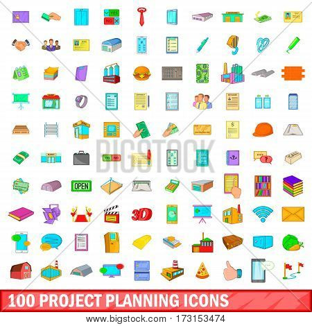 100 project planning icons set in cartoon style for any design vector illustration
