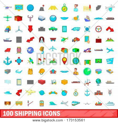 100 shipping icons set in cartoon style for any design vector illustration