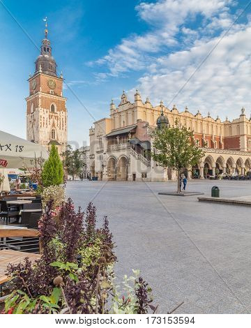 KRAKOW POLAND - 15TH OCTOBER 2016: Cloth Hall Town Hall Tower and Rynek Glowny in Krakow in the morning. People can be seen.