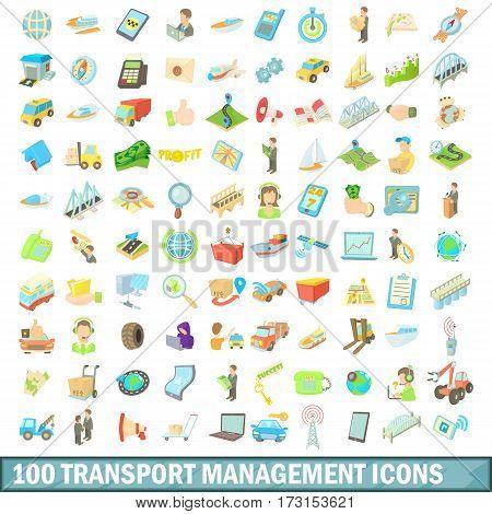 100 transport management set in cartoon style for any design vector illustration