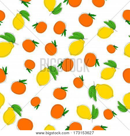 Vector seamless pattern background with hand drawn lemons and mandarins in vintage style. On white. Use for textile fabric paper web page wallpaper etc.