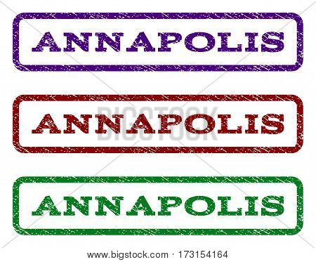 Annapolis watermark stamp. Text caption inside rounded rectangle frame with grunge design style. Vector variants are indigo blue red green ink colors. Rubber seal stamp with dirty texture.
