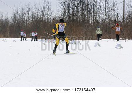 Kirishi, Russia - 11 February, Running around the track skier, 11 February, 2017. Mass ski race Russian Ski Track.