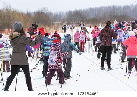 Kirishi, Russia - 11 February, Massive winter children's races, 11 February, 2017. Mass ski race Russian Ski Track.