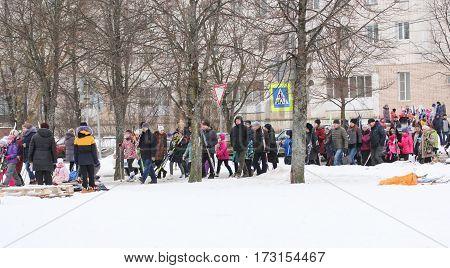 Kirishi, Russia - 11 February, People going on a ski holiday, 11 February, 2017. Mass ski race Russian Ski Track.