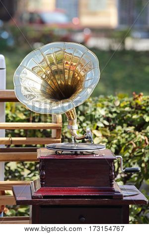 Ancient Gramophone for Sale at Flea Market