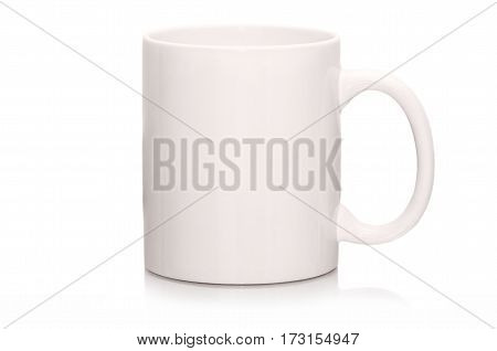 White brand mug empty for coffee or tea isolated on white background. Brand mug with reflection isolated. Corporate identity blank white mug mockup. Corporate brand cup. Corporate white cup isolated