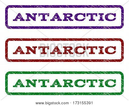 Antarctic watermark stamp. Text caption inside rounded rectangle frame with grunge design style. Vector variants are indigo blue red green ink colors. Rubber seal stamp with unclean texture.