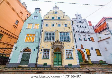 RIGA LATVIA - 2ND JAN 2017: Three Brothers (Tris brali) in Riga. These buildings are some of the oldest in the city.