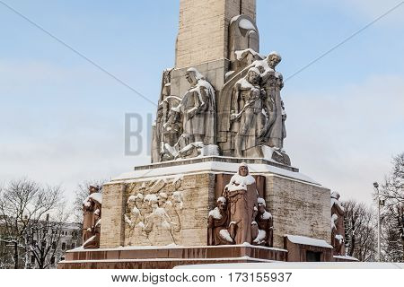 RIGA LATVIA - 3RD JAN 2017: A closeup to The Freedom Monument in central Riga during the day in the winter. The monument is dedicated to those that lost their lives fighting for independence