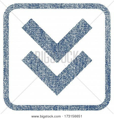 Shift Down vector textured icon for overlay watermark stamps. Blue jeans fabric vectorized texture. Symbol with scratched design inside rounded rectangle.