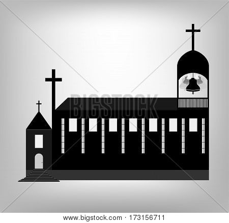 Roman Catholic Church With Tower Bell. Illustration Eps 10.