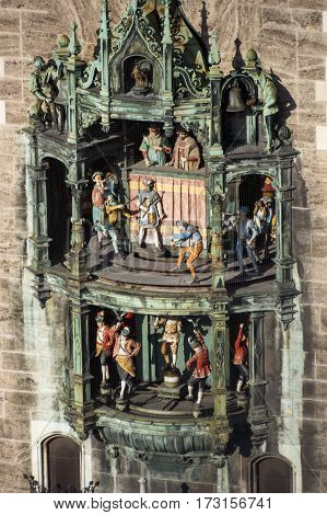 MUNICH, GERMANY - OCTOBER 31, 2015: The Glockenspiel in the tower of the new city hall with different figures is a famous tourist attraction in Munich