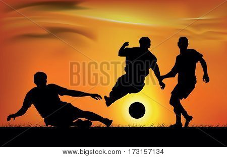 athletes team plays football on a sunset background