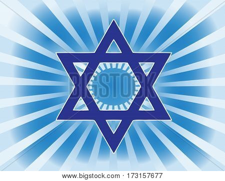 The most important symbol in the religion of Judaism -  Star Of David, Gradient blue background, blue sun rays, vector