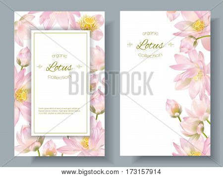 Vector botanical vertical banners with lotus flowers on white. Design for natural cosmetics, health care and ayurveda products, yoga center. Can be used as greeting card or wedding invitation