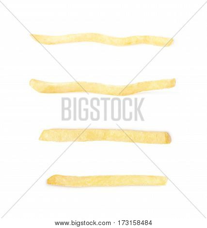Single potato french fry chip isolated over the white background, set of four different foreshortenings