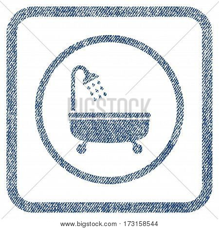 Shower Bath vector textured icon for overlay watermark stamps. Blue jeans fabric vectorized texture. Symbol with dust design inside rounded rectangle.